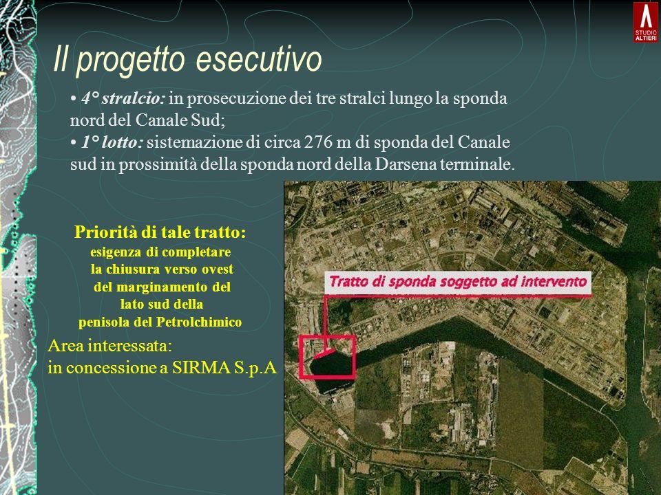 Il progetto esecutivo 4° stralcio: in prosecuzione dei tre stralci lungo la sponda nord del Canale Sud; 1° lotto: sistemazione di circa 276 m di spond