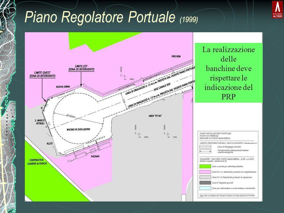 Piano Regolatore Portuale (1999) La realizzazione delle banchine deve rispettare le indicazione del PRP