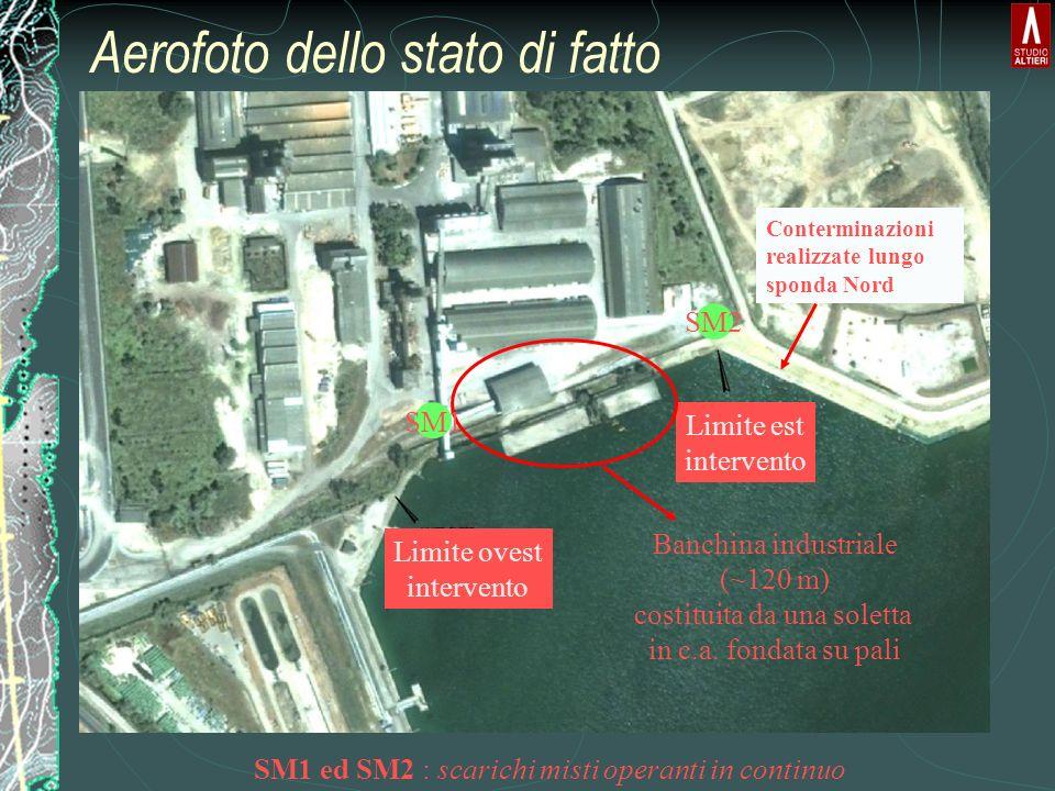 Aerofoto dello stato di fatto Limite ovest intervento Limite est intervento Banchina industriale (~120 m) costituita da una soletta in c.a. fondata su
