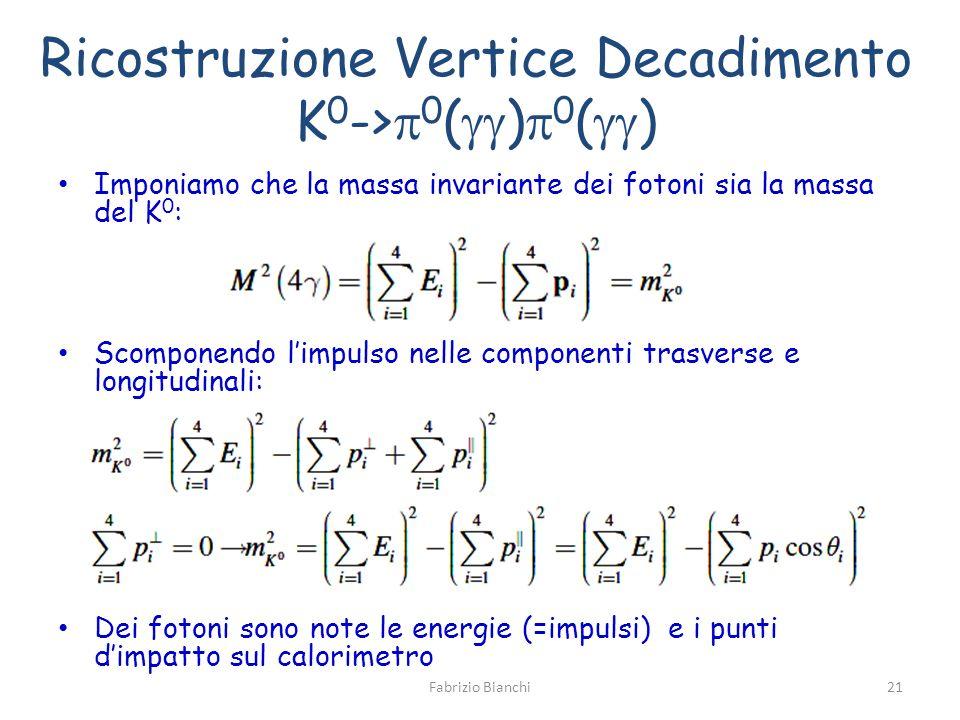 Ricostruzione Vertice Decadimento K 0 -> 0 ( ) 0 ( ) Imponiamo che la massa invariante dei fotoni sia la massa del K 0 : Scomponendo limpulso nelle componenti trasverse e longitudinali: Dei fotoni sono note le energie (=impulsi) e i punti dimpatto sul calorimetro Fabrizio Bianchi21