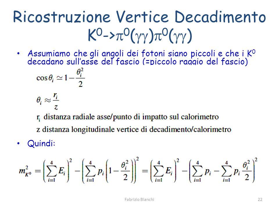 Ricostruzione Vertice Decadimento K 0 -> 0 ( ) 0 ( ) Assumiamo che gli angoli dei fotoni siano piccoli e che i K 0 decadano sullasse del fascio (=piccolo raggio del fascio) Quindi: Fabrizio Bianchi22