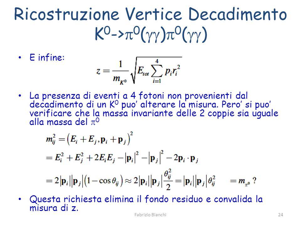 Ricostruzione Vertice Decadimento K 0 -> 0 ( ) 0 ( ) E infine: La presenza di eventi a 4 fotoni non provenienti dal decadimento di un K 0 puo alterare la misura.