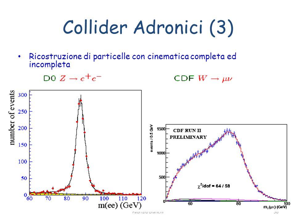 Collider Adronici (3) Ricostruzione di particelle con cinematica completa ed incompleta Fabrizio Bianchi36