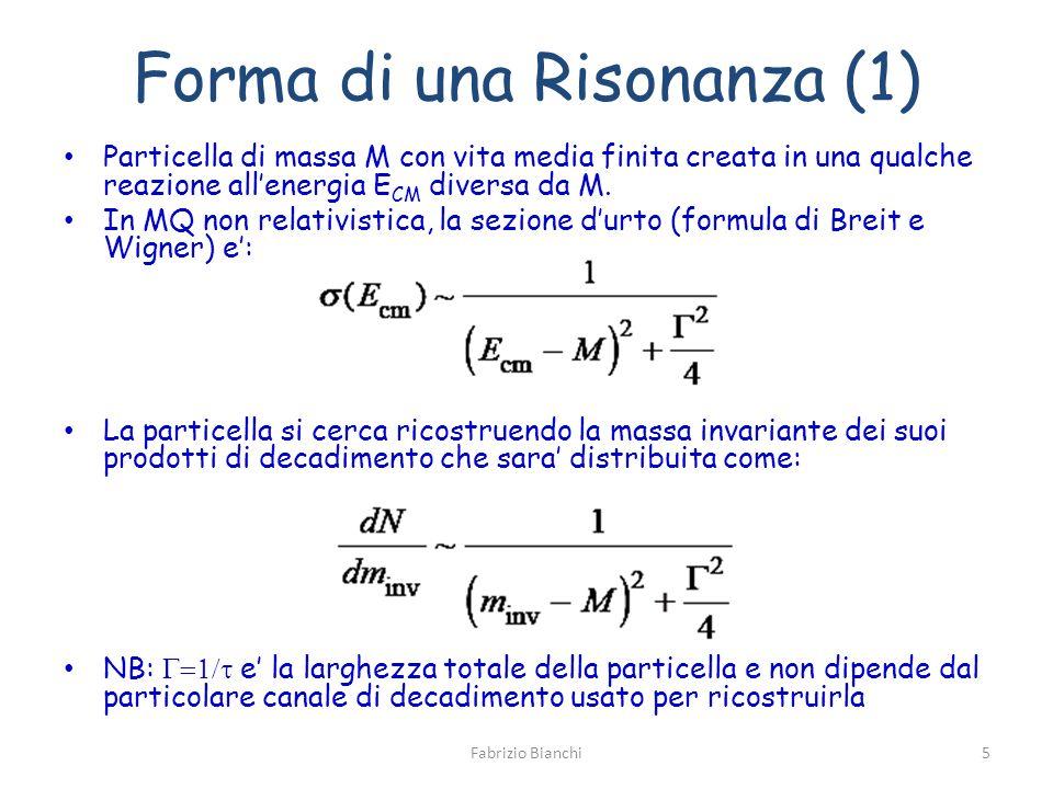 Forma di una Risonanza (1) Particella di massa M con vita media finita creata in una qualche reazione allenergia E CM diversa da M.