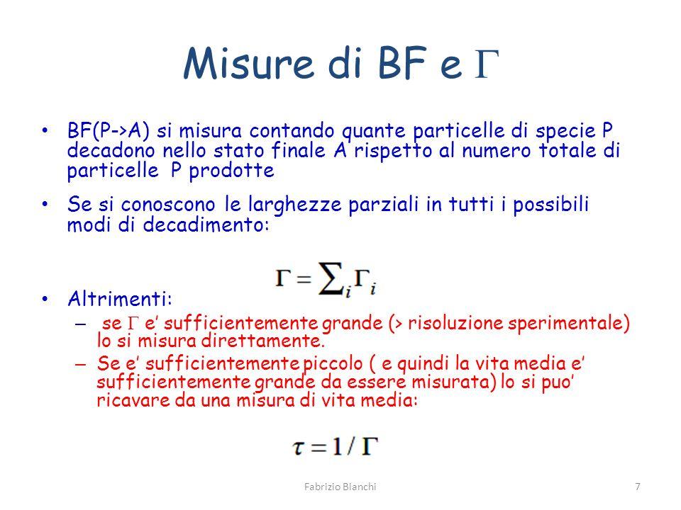 Misure di BF e BF(P->A) si misura contando quante particelle di specie P decadono nello stato finale A rispetto al numero totale di particelle P prodotte Se si conoscono le larghezze parziali in tutti i possibili modi di decadimento: Altrimenti: – se e sufficientemente grande (> risoluzione sperimentale) lo si misura direttamente.