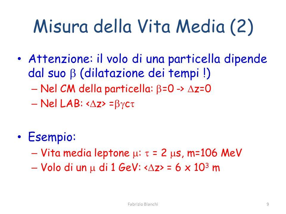 Misura della Vita Media (2) Attenzione: il volo di una particella dipende dal suo (dilatazione dei tempi !) – Nel CM della particella: =0 -> z=0 – Nel LAB: = c Esempio: – Vita media leptone : = 2 s, m=106 MeV – Volo di un di 1 GeV: = 6 x 10 3 m Fabrizio Bianchi9