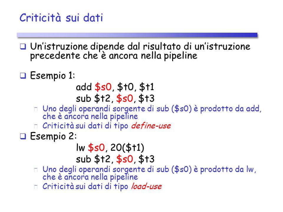 Criticità sui dati (2) Esempio 1: Esempio 1: Esempio 2: Esempio 2: IDIFEXMEM WB lw $s0, 20($t1) tempo IDIFEXMEM WB ordine di esecuzione delle istruzioni sub $t2, $s0, $t3 IDIFEXMEM WB tempo IDIF EX MEM WB ordine di esecuzione delle istruzioni add $s0, $t0, $t1 sub $t2, $s0, $t3