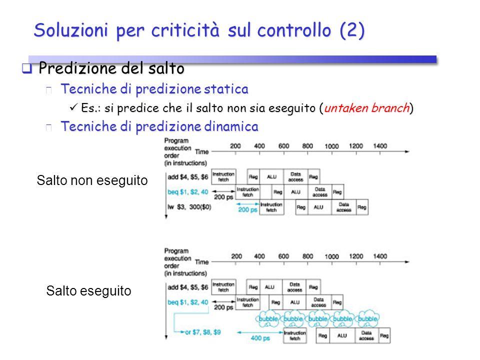 Soluzioni per criticità sul controllo (2) Predizione del salto Predizione del salto Tecniche di predizione statica Tecniche di predizione statica Es.: si predice che il salto non sia eseguito (untaken branch) Es.: si predice che il salto non sia eseguito (untaken branch) Tecniche di predizione dinamica Tecniche di predizione dinamica Salto non eseguito Salto eseguito