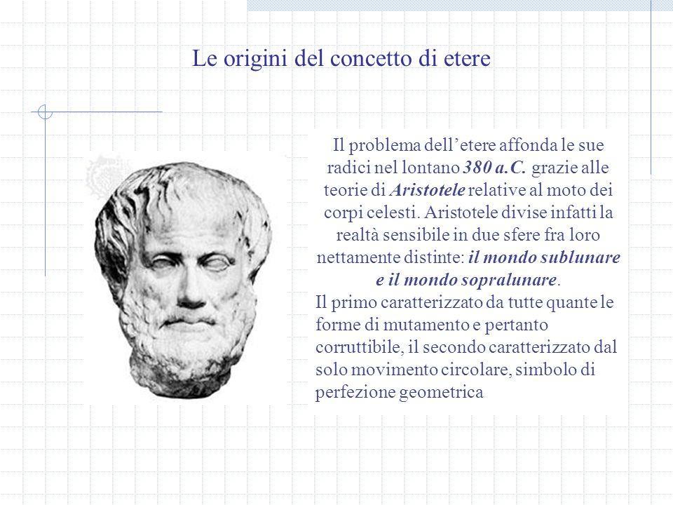 Le origini del concetto di etere Il problema delletere affonda le sue radici nel lontano 380 a.C.
