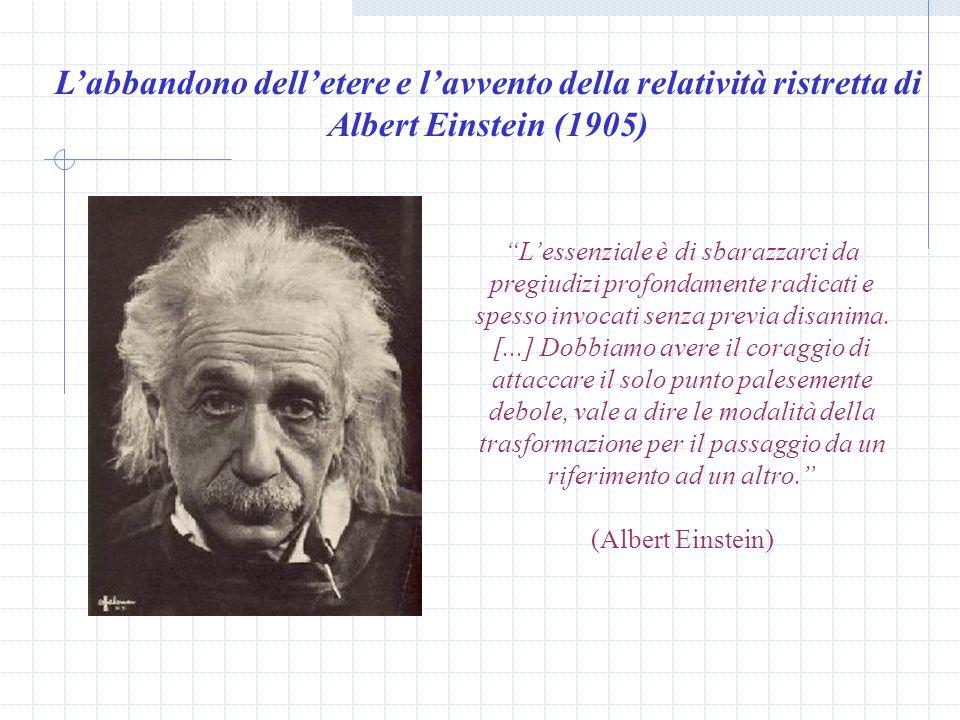 Volendo conservare le trasformazioni Galileiane, era dunque necessario pensare che le leggi dellelettrodinamica fossero sbagliate nella formulazione d