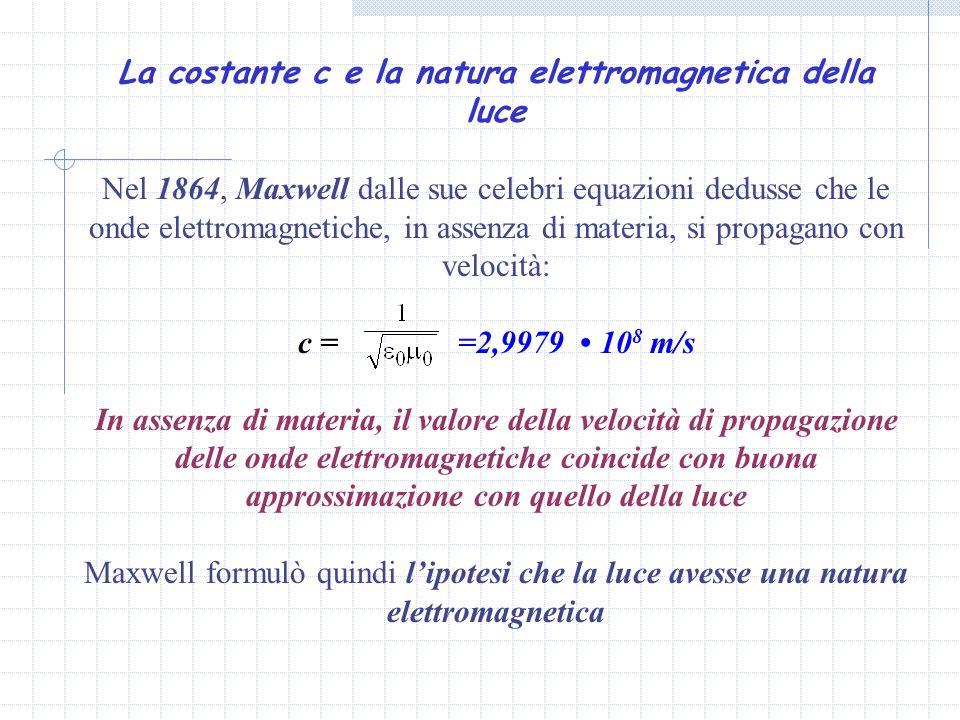 La costante c e la natura elettromagnetica della luce Nel 1864, Maxwell dalle sue celebri equazioni dedusse che le onde elettromagnetiche, in assenza di materia, si propagano con velocità: c = =2,9979 10 8 m/s In assenza di materia, il valore della velocità di propagazione delle onde elettromagnetiche coincide con buona approssimazione con quello della luce Maxwell formulò quindi lipotesi che la luce avesse una natura elettromagnetica
