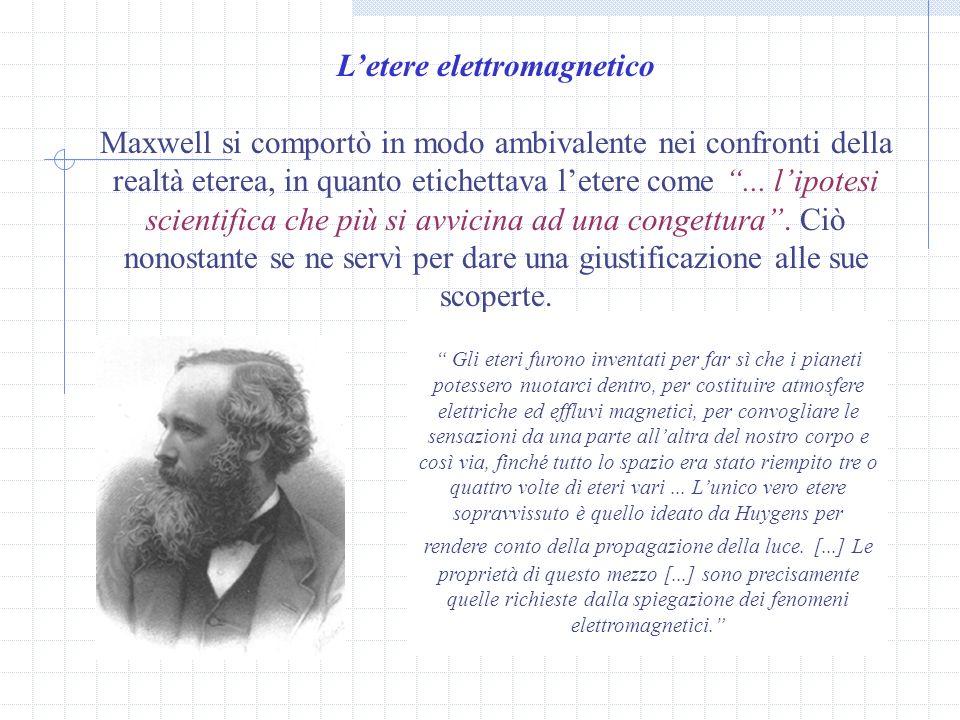 Letere elettromagnetico Maxwell si comportò in modo ambivalente nei confronti della realtà eterea, in quanto etichettava letere come...