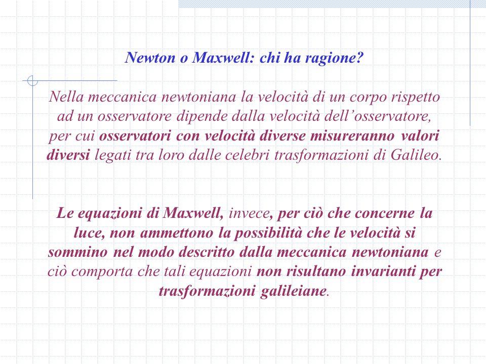 Newton o Maxwell: chi ha ragione.