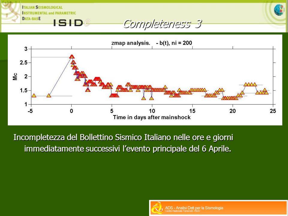 Incompletezza del Bollettino Sismico Italiano nelle ore e giorni immediatamente successivi levento principale del 6 Aprile.