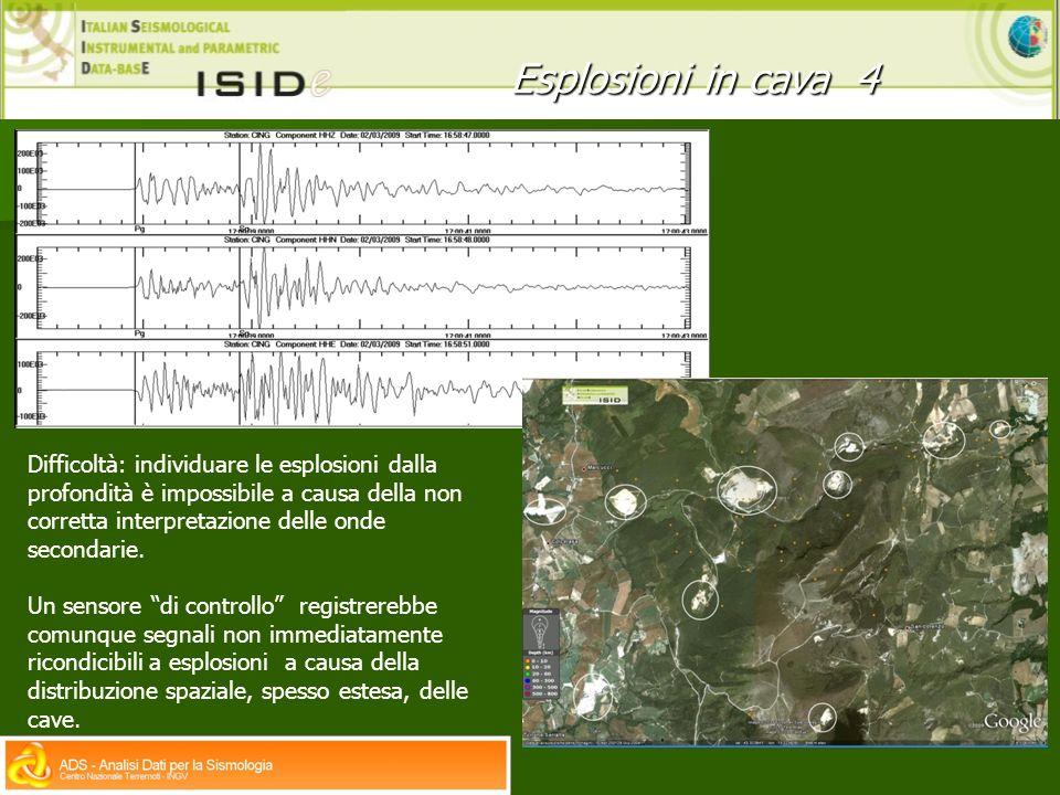 Esplosioni in cava 4 Difficoltà: individuare le esplosioni dalla profondità è impossibile a causa della non corretta interpretazione delle onde secondarie.