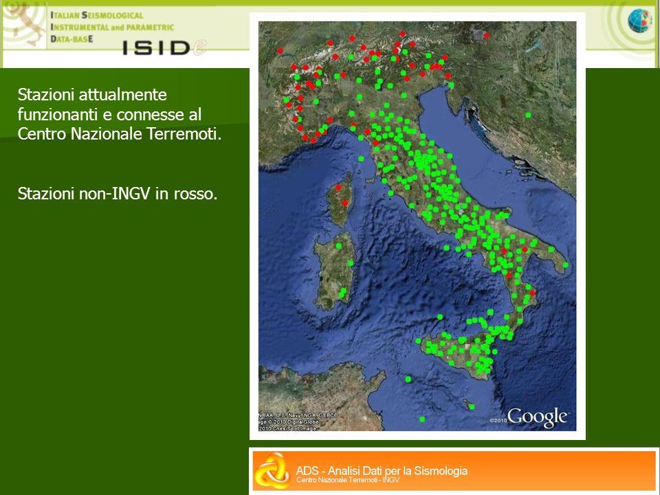 Stazioni attualmente funzionanti e connesse al Centro Nazionale Terremoti.