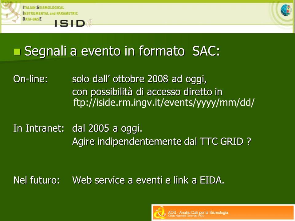 Segnali a evento in formato SAC: Segnali a evento in formato SAC: On-line: solo dall ottobre 2008 ad oggi, con possibilità di accesso diretto in con possibilità di accesso diretto in ftp://iside.rm.ingv.it/events/yyyy/mm/dd/ In Intranet: dal 2005 a oggi.