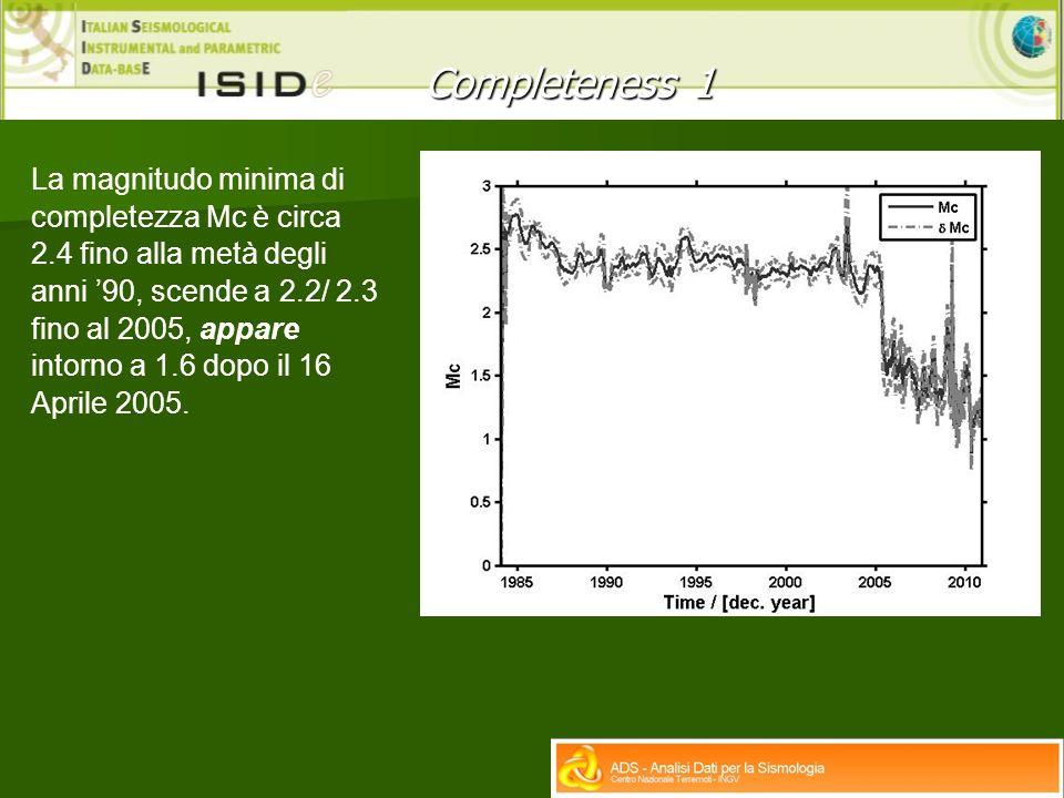 Completeness 1 La magnitudo minima di completezza Mc è circa 2.4 fino alla metà degli anni 90, scende a 2.2/ 2.3 fino al 2005, appare intorno a 1.6 dopo il 16 Aprile 2005.