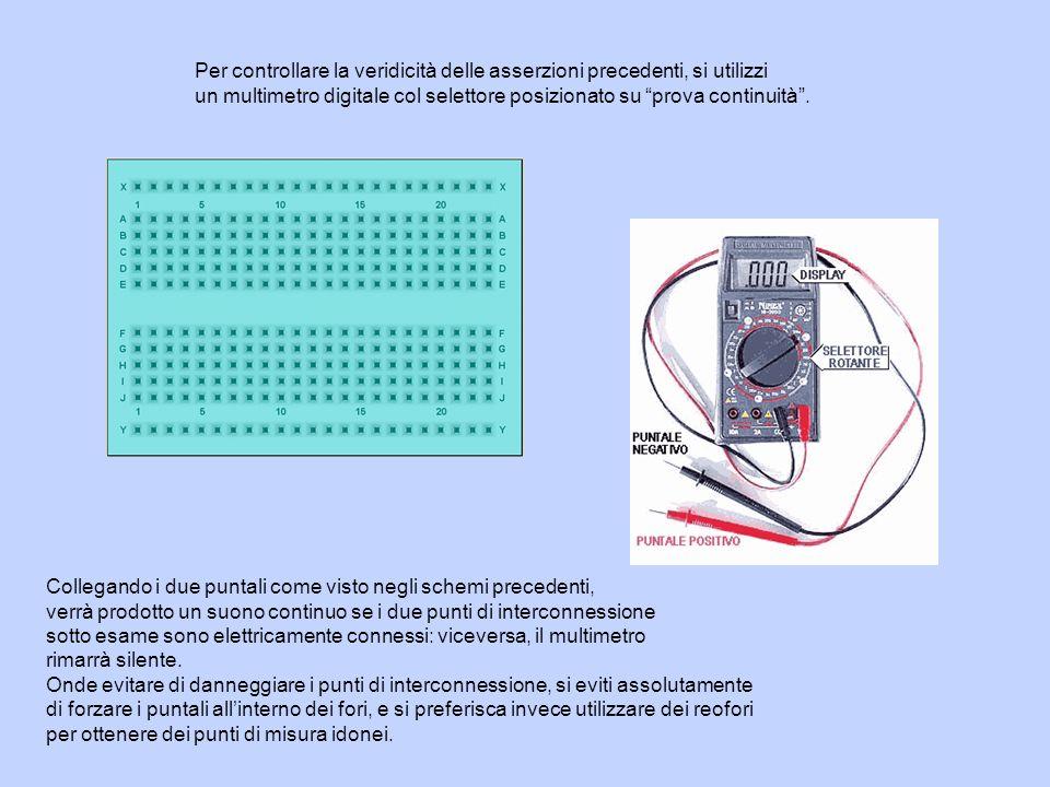 Per controllare la veridicità delle asserzioni precedenti, si utilizzi un multimetro digitale col selettore posizionato su prova continuità. Collegand