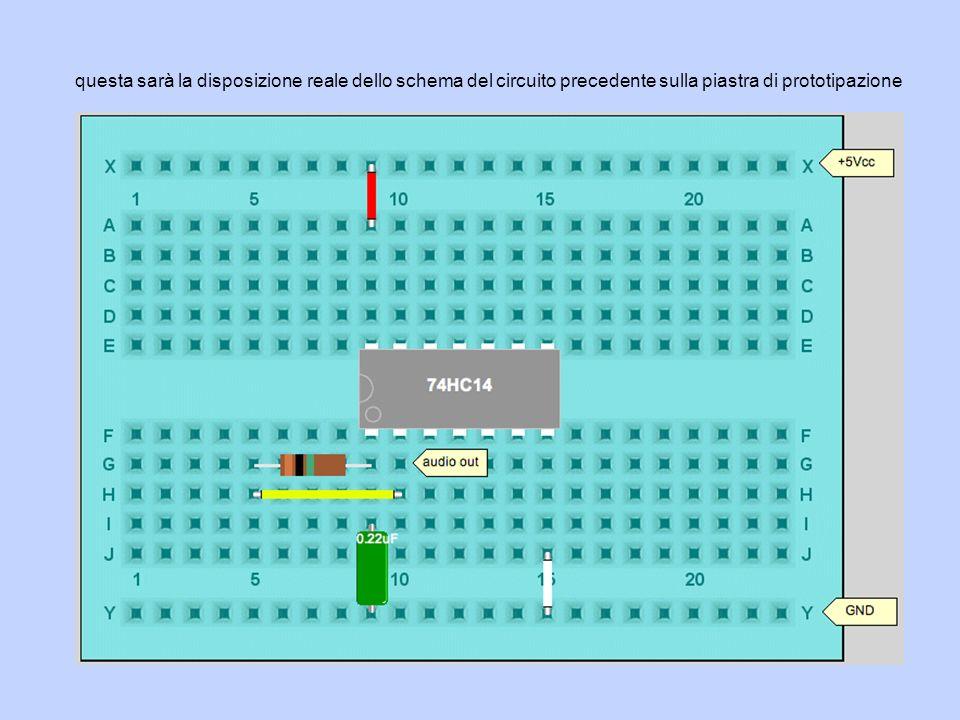 questa sarà la disposizione reale dello schema del circuito precedente sulla piastra di prototipazione