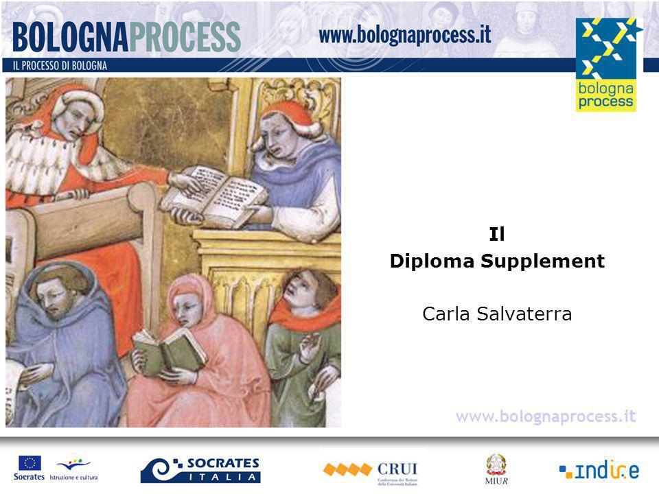 Una delle priorità del comunicato di Berlino 2003 I Ministri assumono come obiettivo che ogni studente che si laurea a partire dal 2005 riceva il Diploma Supplement automaticamente e gratuitamente.