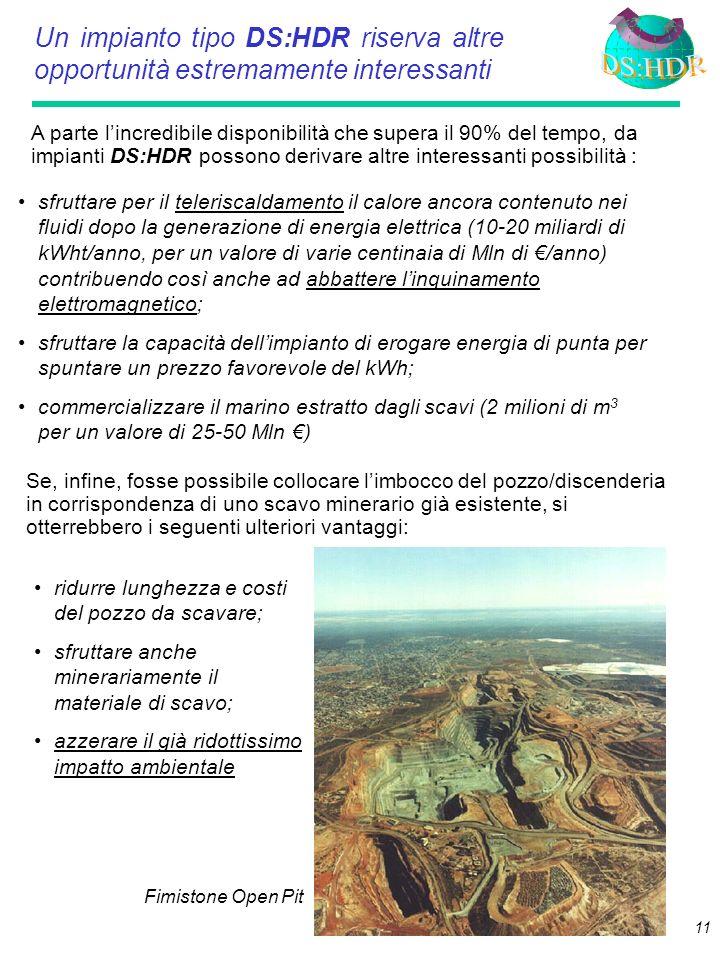 10 Potenza del serbatoio HDR richiesta per sostenere un impianto geotermoelettrico da 1000 MWe: 7.300 MWt (a decadimento compensato nella vita utile d
