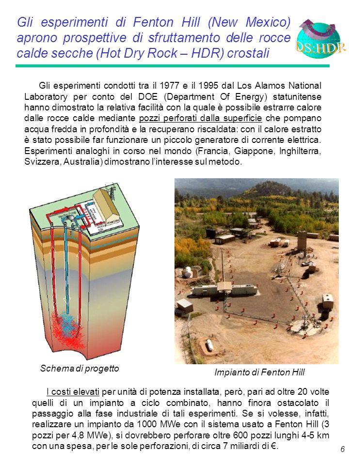 6 Gli esperimenti di Fenton Hill (New Mexico) aprono prospettive di sfruttamento delle rocce calde secche (Hot Dry Rock – HDR) crostali Gli esperimenti condotti tra il 1977 e il 1995 dal Los Alamos National Laboratory per conto del DOE (Department Of Energy) statunitense hanno dimostrato la relativa facilità con la quale è possibile estrarre calore dalle rocce calde mediante pozzi perforati dalla superficie che pompano acqua fredda in profondità e la recuperano riscaldata: con il calore estratto è stato possibile far funzionare un piccolo generatore di corrente elettrica.