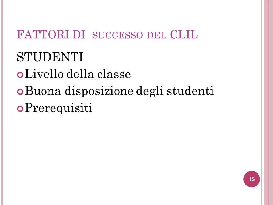FATTORI DI SUCCESSO DEL CLIL STUDENTI Livello della classe Buona disposizione degli studenti Prerequisiti 15