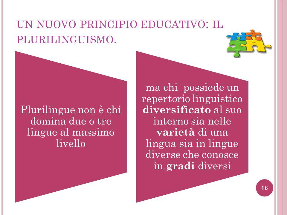 Plurilingue non è chi domina due o tre lingue al massimo livello ma chi possiede un repertorio linguistico diversificato al suo interno sia nelle vari