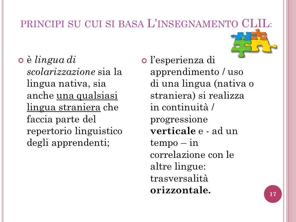 PRINCIPI SU CUI SI BASA L INSEGNAMENTO CLIL : è lingua di scolarizzazione sia la lingua nativa, sia anche una qualsiasi lingua straniera che faccia pa