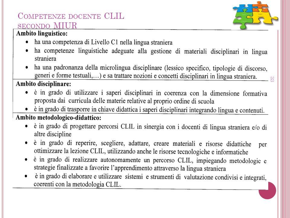 C OMPETENZE DOCENTE CLIL SECONDO MIUR 33