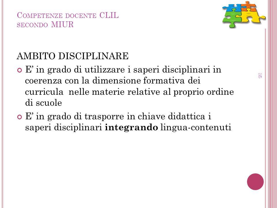 C OMPETENZE DOCENTE CLIL SECONDO MIUR 35 AMBITO DISCIPLINARE E in grado di utilizzare i saperi disciplinari in coerenza con la dimensione formativa de