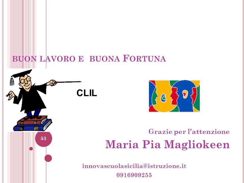 BUON LAVORO E BUONA F ORTUNA Grazie per lattenzione Maria Pia Magliokeen innovascuolasicilia@istruzione.it 0916909255 53 CLIL