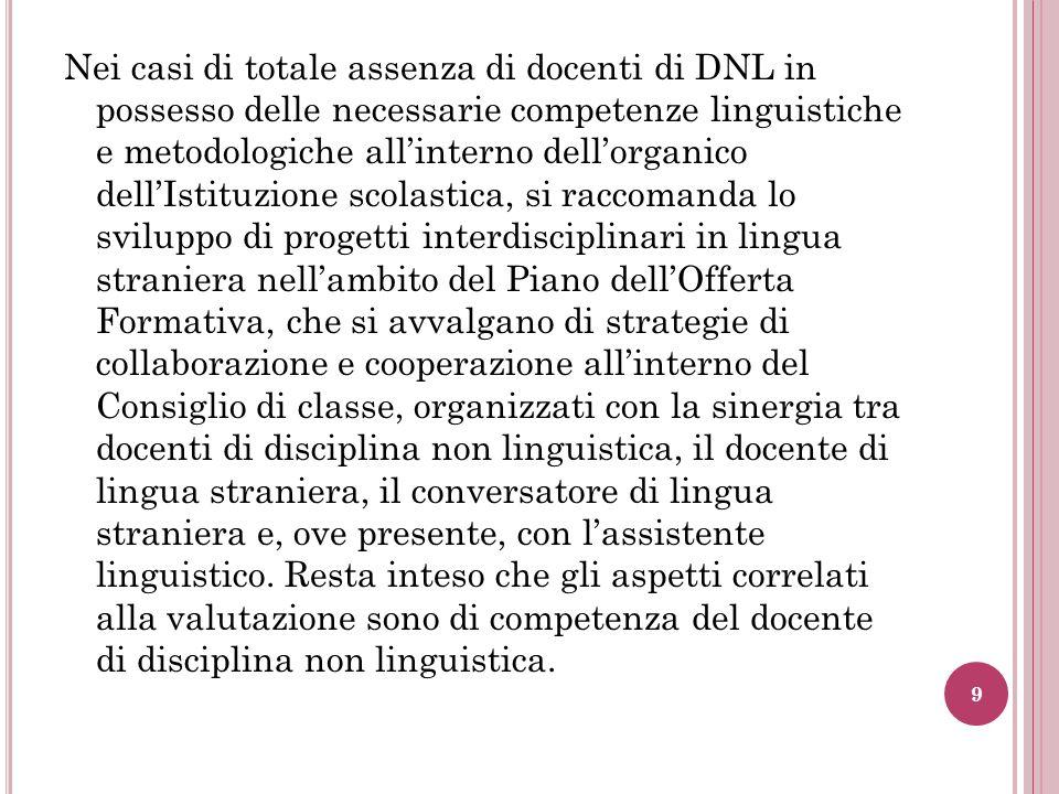 Nei casi di totale assenza di docenti di DNL in possesso delle necessarie competenze linguistiche e metodologiche allinterno dellorganico dellIstituzi