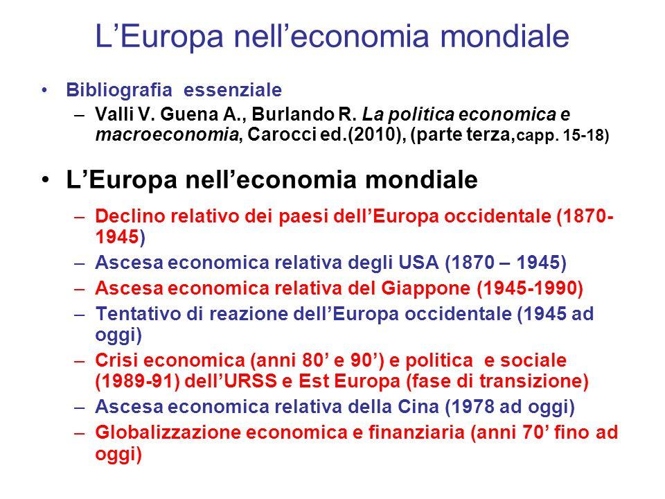 LEuropa nelleconomia mondiale Bibliografia essenziale –Valli V.