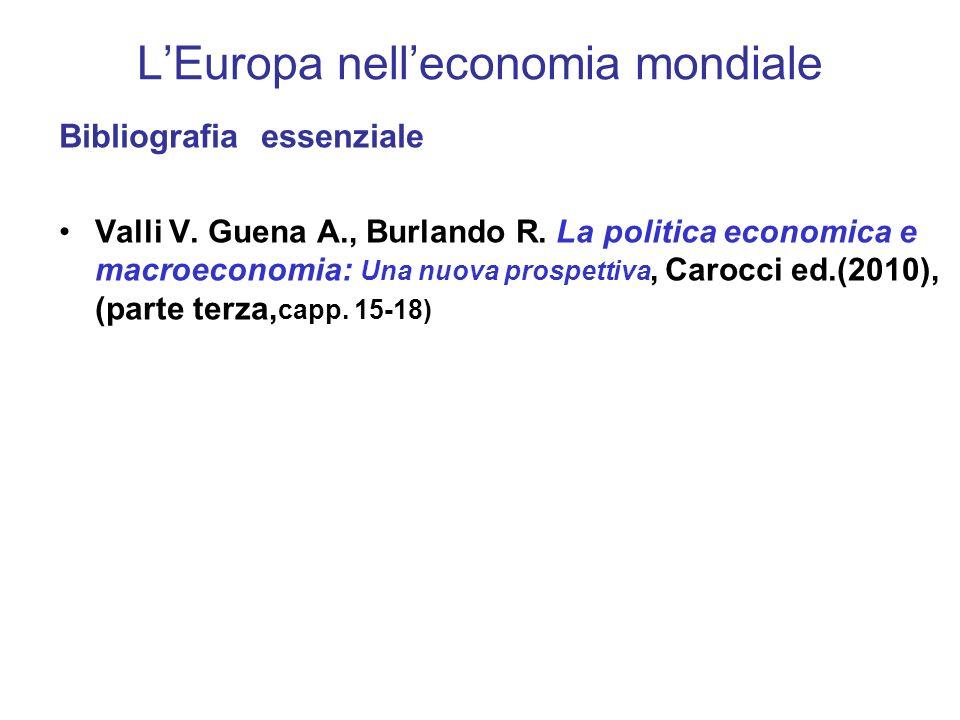 LEuropa nelleconomia mondiale Bibliografia essenziale Valli V.