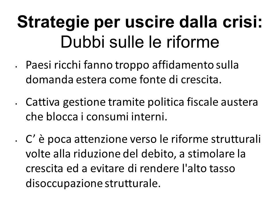Strategie per uscire dalla crisi: Dubbi sulle le riforme Paesi ricchi fanno troppo affidamento sulla domanda estera come fonte di crescita.