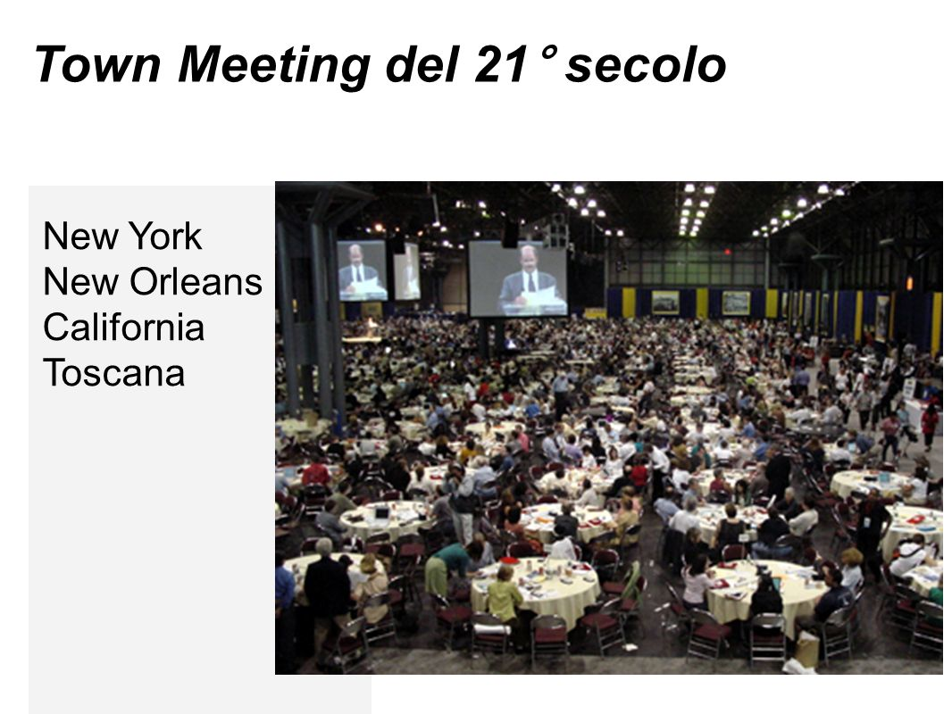 Town Meeting del 21° secolo New York New Orleans California Toscana