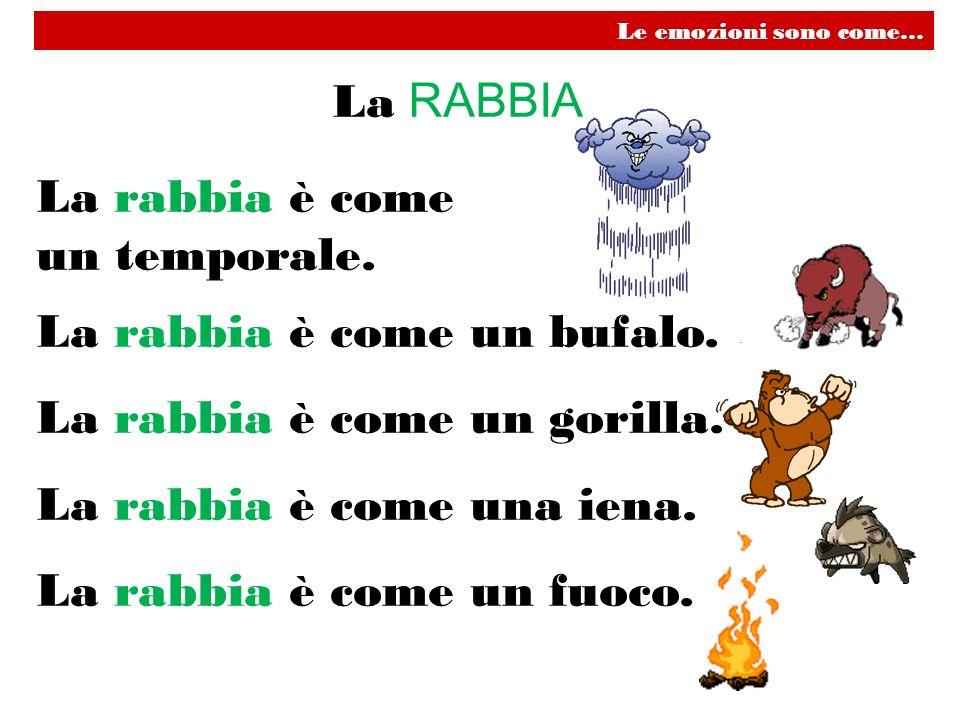 La RABBIA La rabbia è come un temporale. La rabbia è come un bufalo. La rabbia è come un gorilla. La rabbia è come una iena. La rabbia è come un fuoco