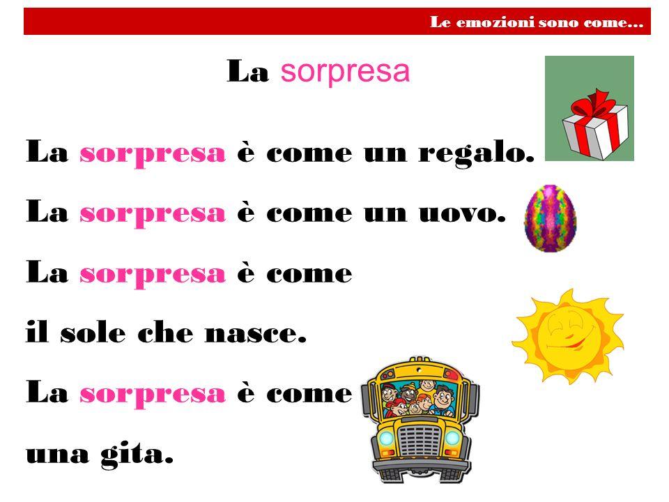La sorpresa La sorpresa è come un regalo. La sorpresa è come un uovo. La sorpresa è come il sole che nasce. La sorpresa è come una gita. Le emozioni s