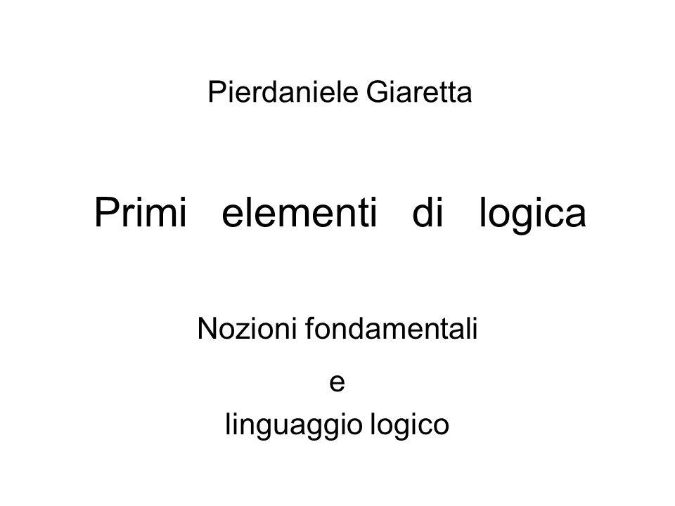La definizione e lo studio della validità di uninferenza e la formulazione delle leggi logiche presuppongono lintroduzione e luso di un linguaggio appropriato e, innanzitutto, di simboli per i connettivi logici vero-funzionali