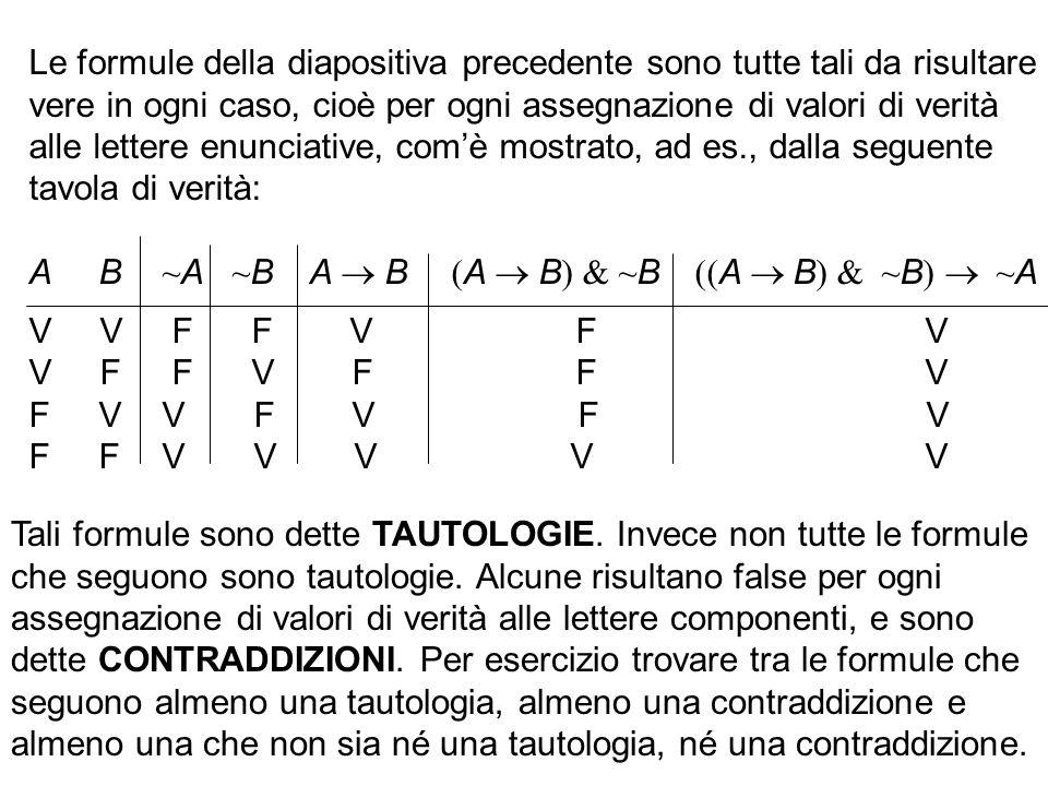 Le formule della diapositiva precedente sono tutte tali da risultare vere in ogni caso, cioè per ogni assegnazione di valori di verità alle lettere en