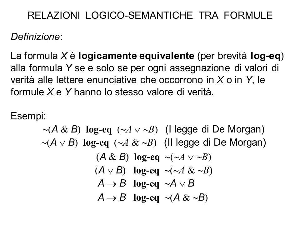 Definizione: La formula X è logicamente equivalente (per brevità log-eq) alla formula Y se e solo se per ogni assegnazione di valori di verità alle le