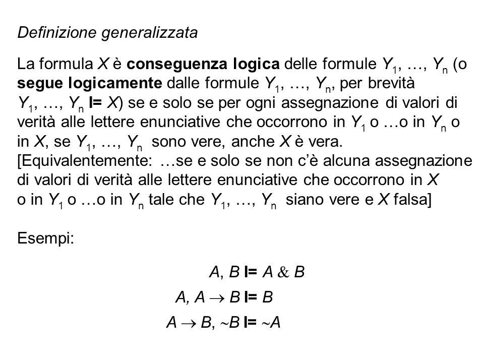 Definizione generalizzata La formula X è conseguenza logica delle formule Y 1, …, Y n (o segue logicamente dalle formule Y 1, …, Y n, per brevità Y 1,