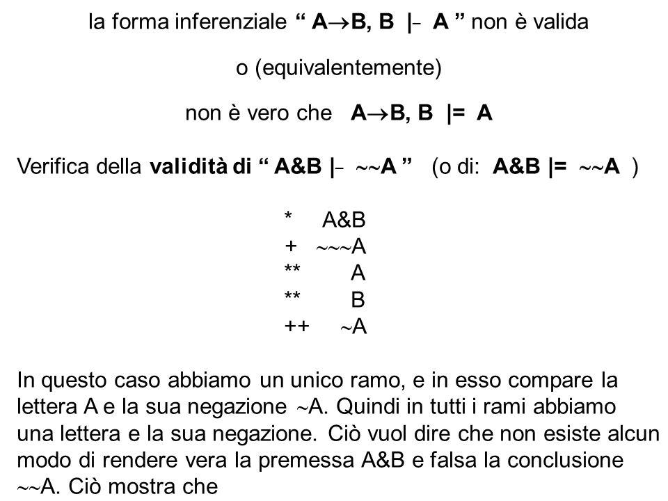 la forma inferenziale A B, B | _ A non è valida o (equivalentemente) non è vero che A B, B |= A Verifica della validità di A&B | _ A (o di: A&B |= A )