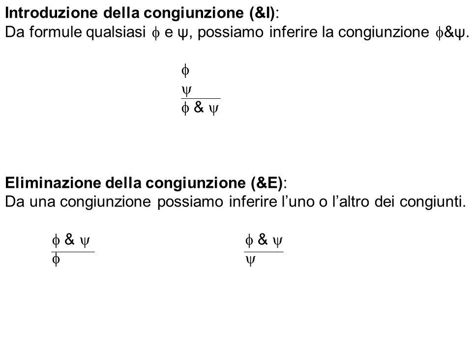 Introduzione della congiunzione (&I): Da formule qualsiasi e ψ, possiamo inferire la congiunzione &ψ. & Eliminazione della congiunzione (&E): Da una c