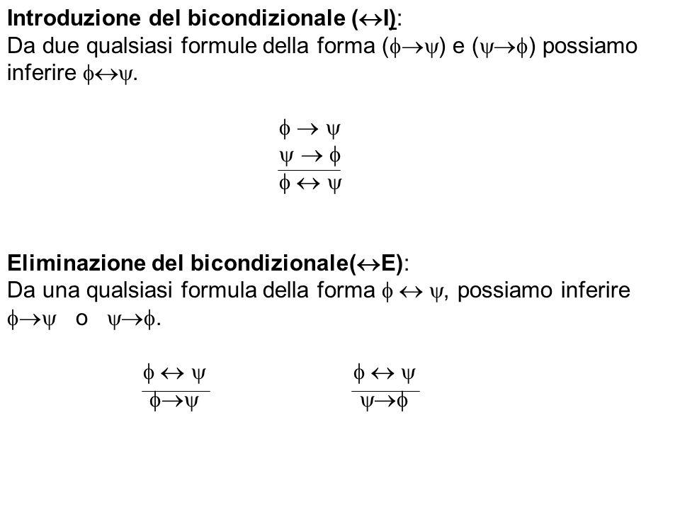 Introduzione del bicondizionale ( I): Da due qualsiasi formule della forma ( ) e ( ) possiamo inferire. Eliminazione del bicondizionale( E): Da una qu