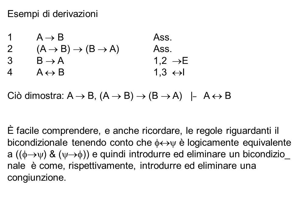 Esempi di derivazioni 1A B Ass. 2(A B) (B A) Ass. 3B A 1,2 E 4A B 1,3 I Ciò dimostra: A B, (A B) (B A) | _ A B È facile comprendere, e anche ricordare