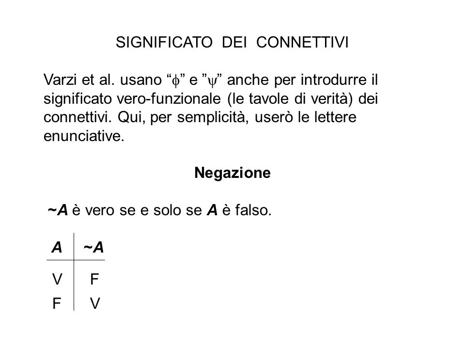 SIGNIFICATO DEI CONNETTIVI Varzi et al. usano e anche per introdurre il significato vero-funzionale (le tavole di verità) dei connettivi. Qui, per sem