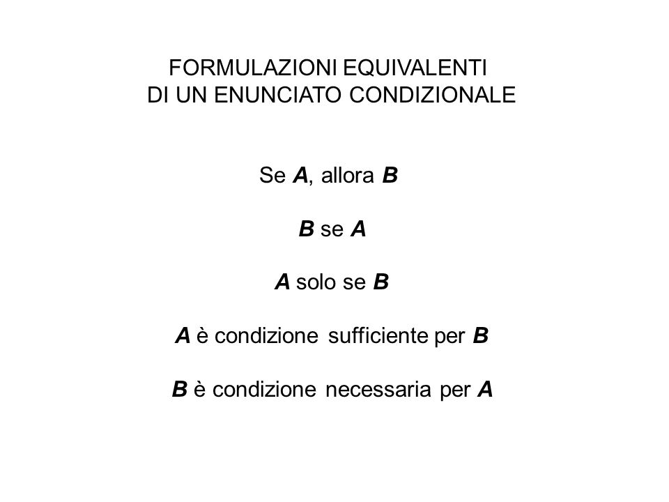 FORMULAZIONI EQUIVALENTI DI UN ENUNCIATO CONDIZIONALE Se A, allora B B se A A solo se B A è condizione sufficiente per B B è condizione necessaria per